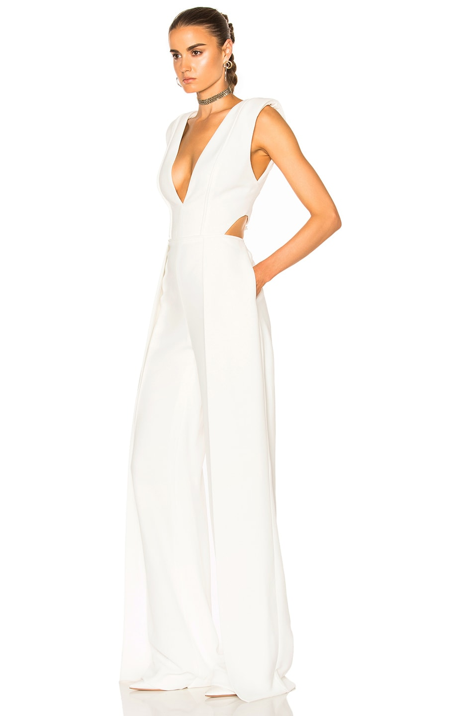 Image 2 of Brandon Maxwell V Neck Jumpsuit in White