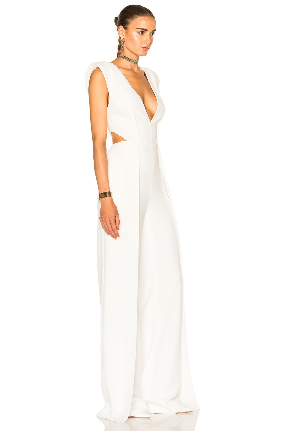 Image 3 of Brandon Maxwell V Neck Jumpsuit in White