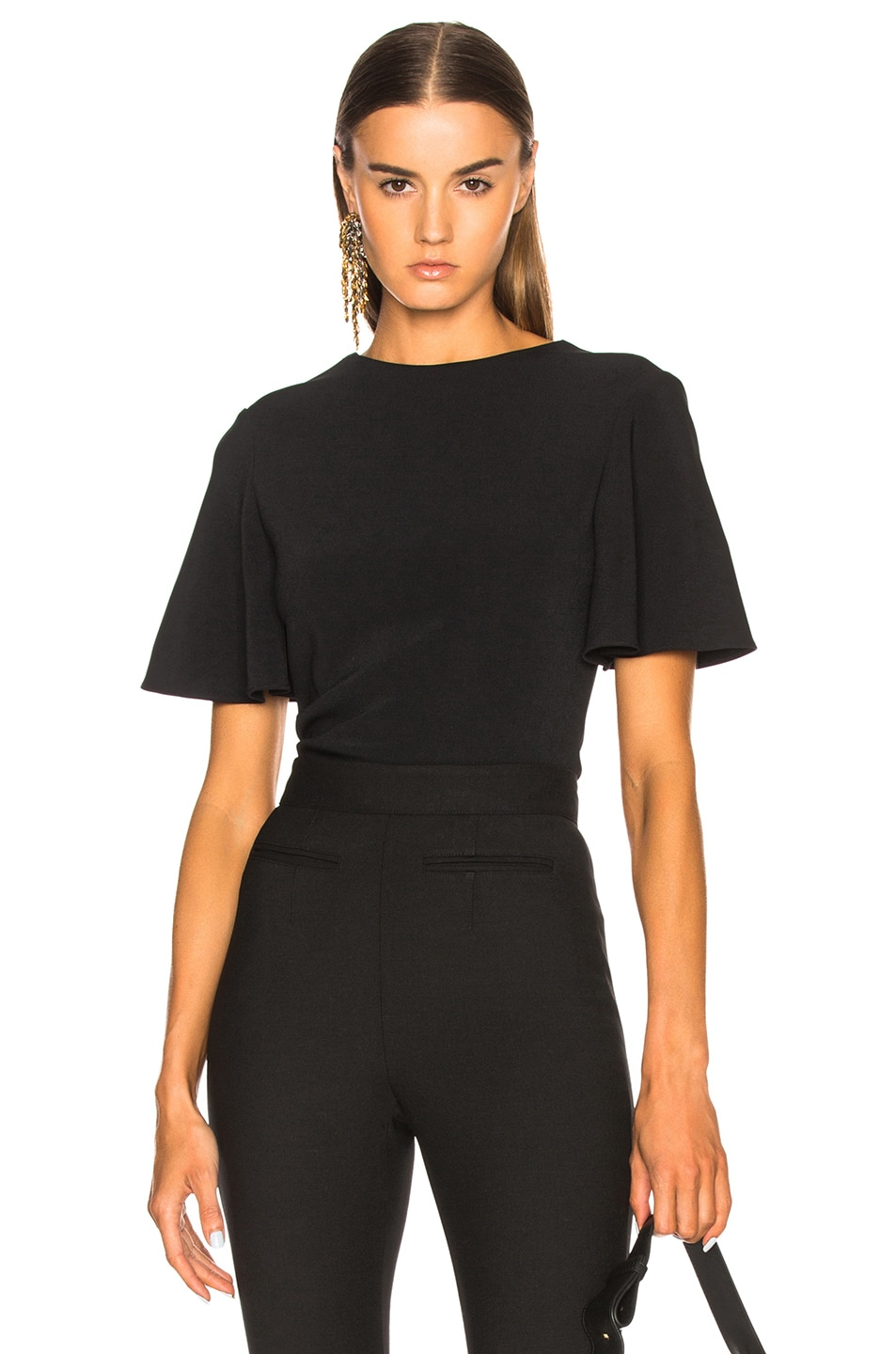 BRANDON MAXWELL LOW BACK BLOUSE IN BLACK