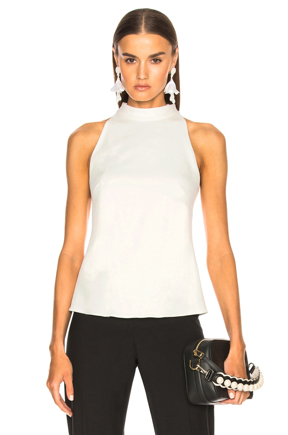 Brandon Maxwell Bow Back Blouse in White