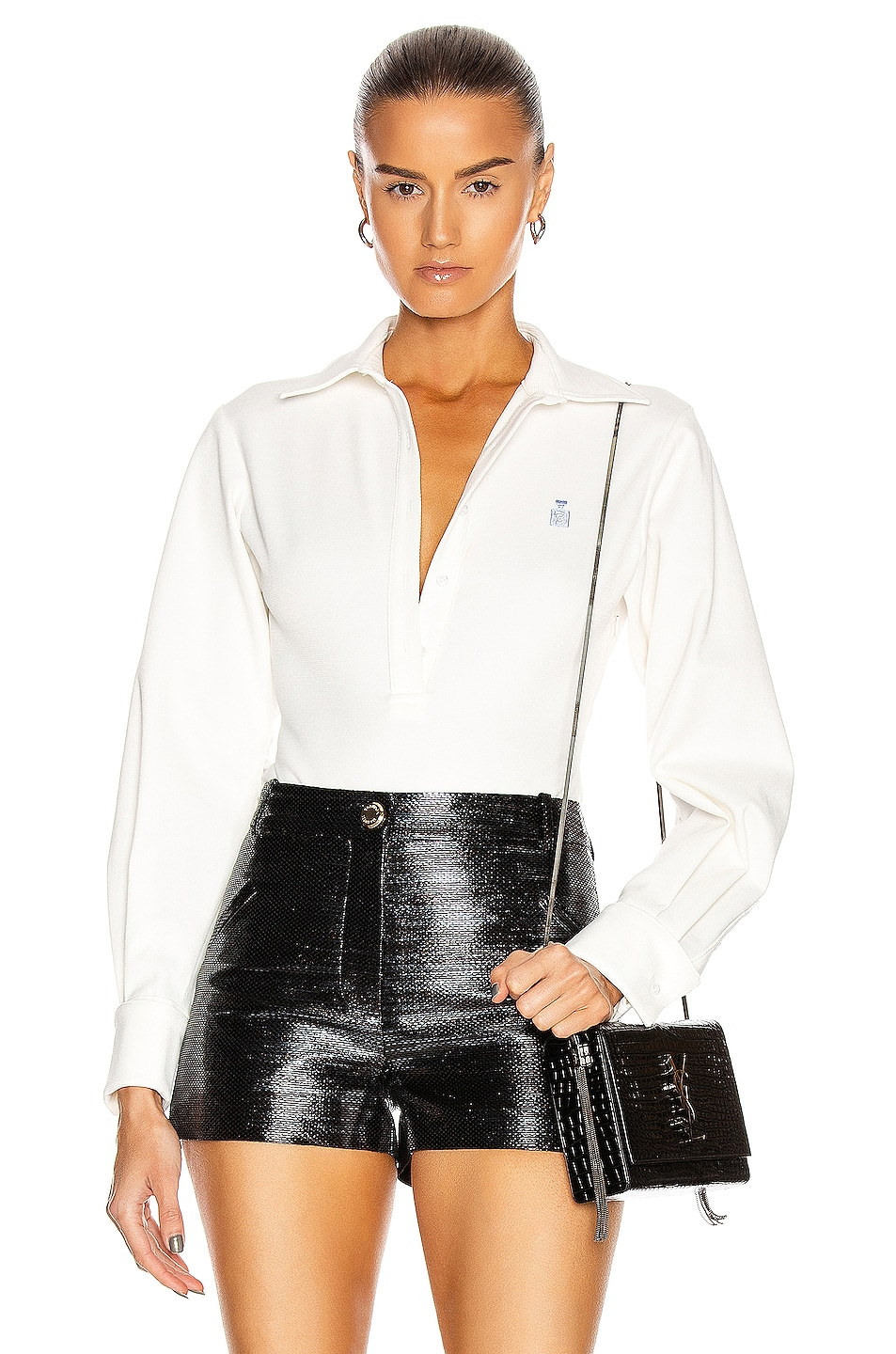 Image 1 of Brandon Maxwell Pique Bodysuit W/ Blouse Sleeve in White