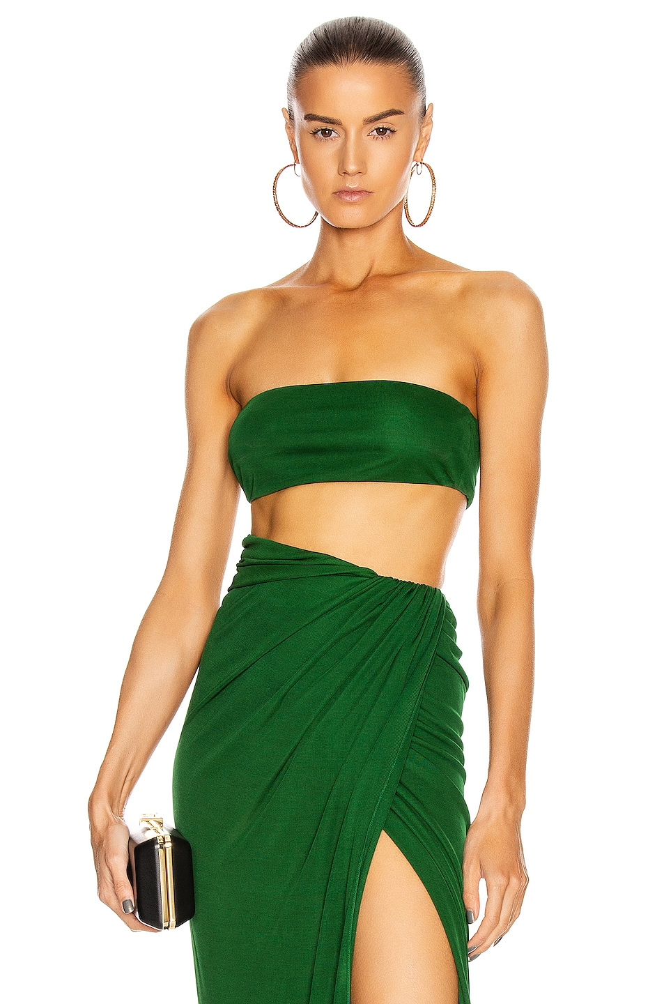 Image 1 of Brandon Maxwell Jersey Bandeau Top in Green