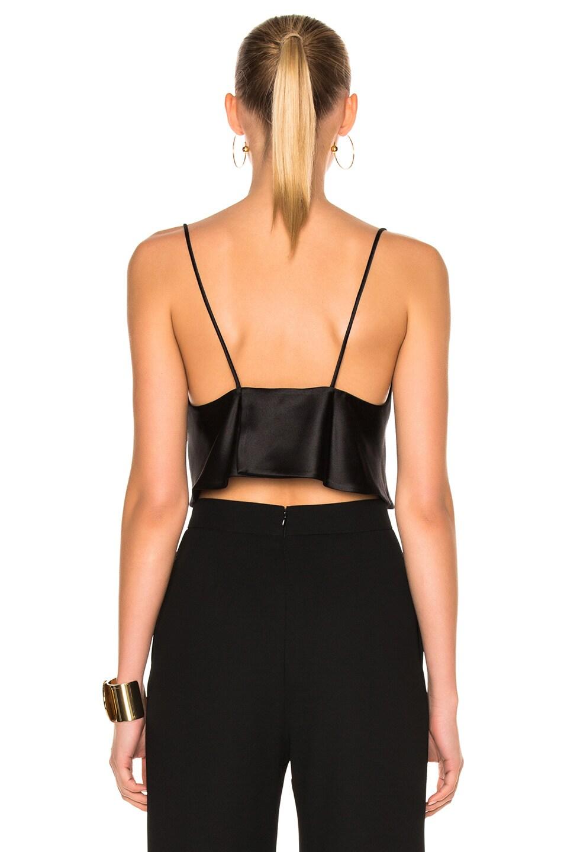 Image 4 of Brandon Maxwell Satin Crop Camisole Top in Black