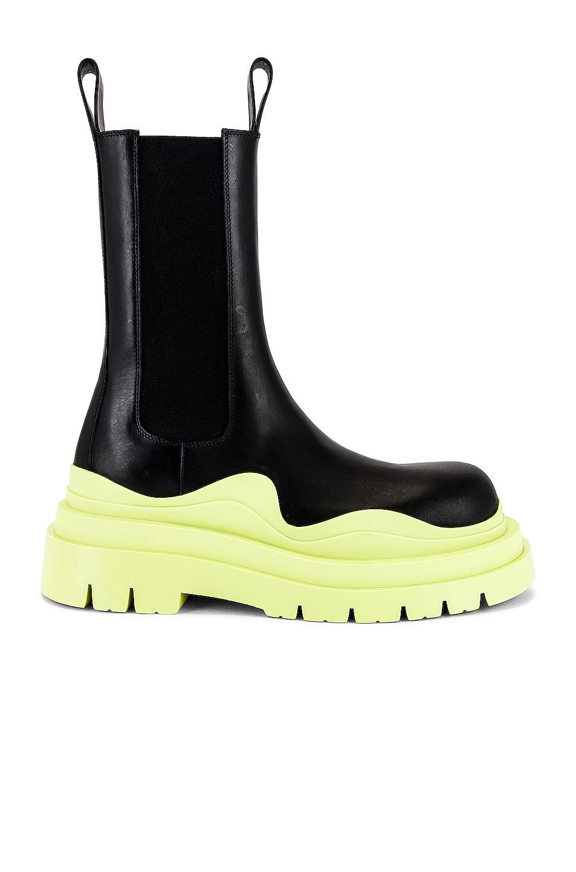 Image 1 of Bottega Veneta Tire Boot in Black & Seagrass