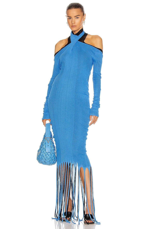 Image 1 of Bottega Veneta Rib Fringe Cold Shoulder Dress in Swimming Pool & Black