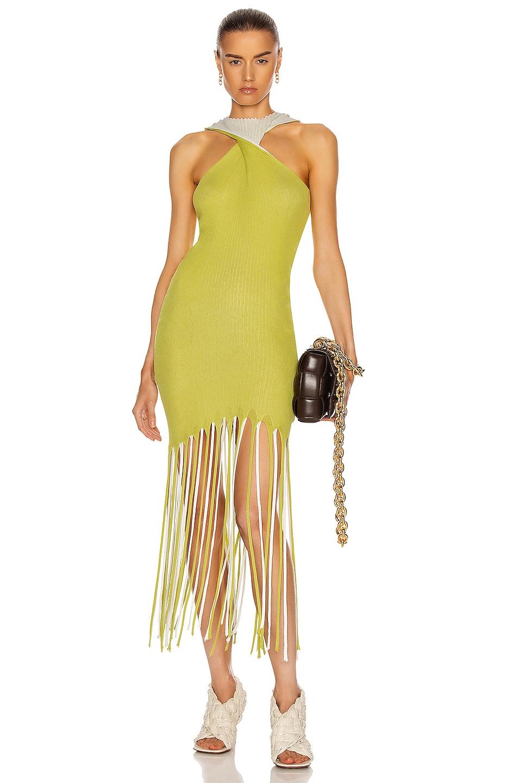 Image 1 of Bottega Veneta Halter Twist Fringe Dress in Acid & Optic White