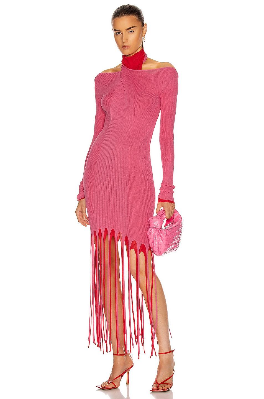 Image 1 of Bottega Veneta Rib Fringe Cold Shoulder Dress in Candyfloss & Fire Engine