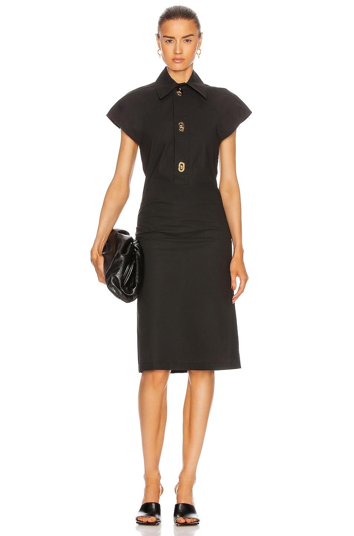 Image 1 of Bottega Veneta Short Sleeve Belted Midi Dress in Off Black