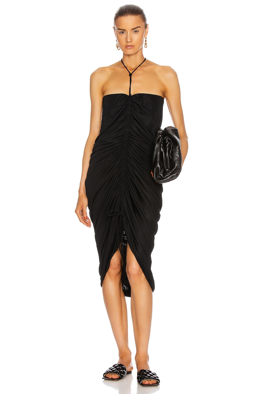 Image 1 of Bottega Veneta Ruched Midi Dress in Nero