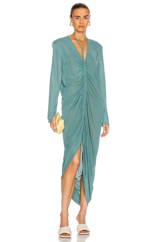 Image 1 of Bottega Veneta Long Sleeve Ruched Dress in Storm