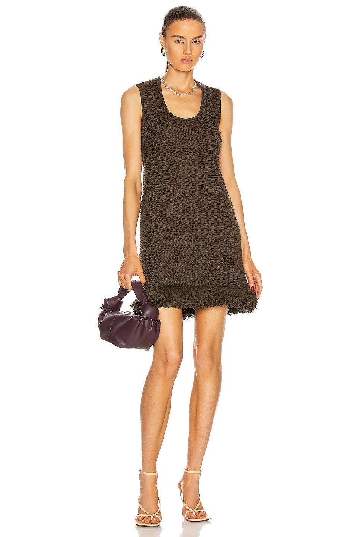 Image 1 of Bottega Veneta Compact Pom Pom Cotton Mesh Dress in Olive