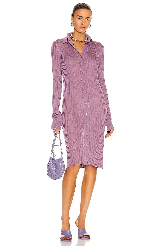 Image 1 of Bottega Veneta Light Weight Silk Rib Dress in Amethyst