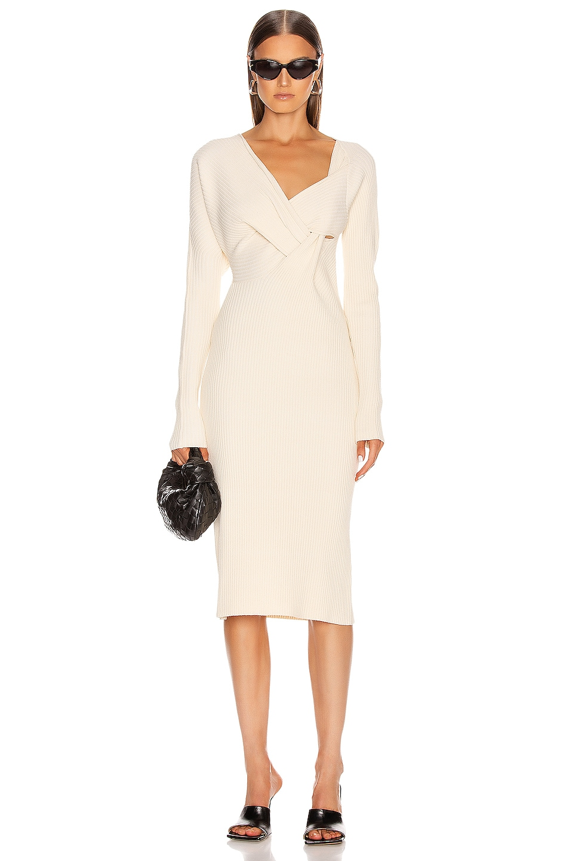 Image 1 of Bottega Veneta Knit Midi Dress in Off White