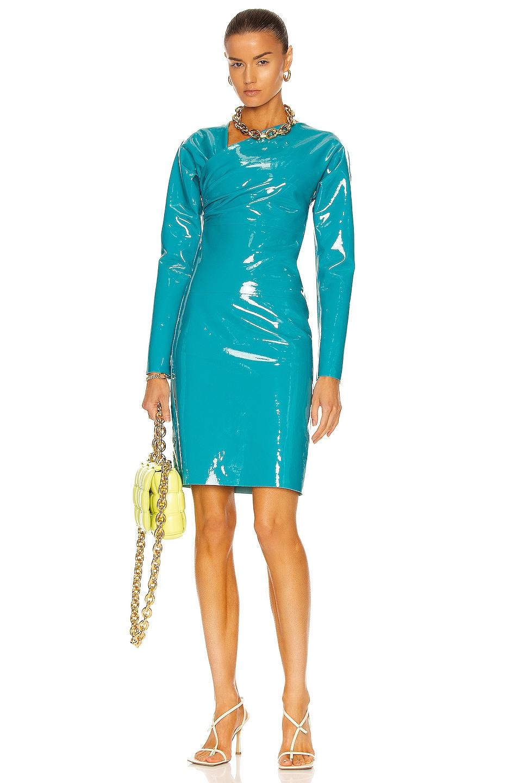 Image 1 of Bottega Veneta Patent Stretch Leather Dress in Peacock