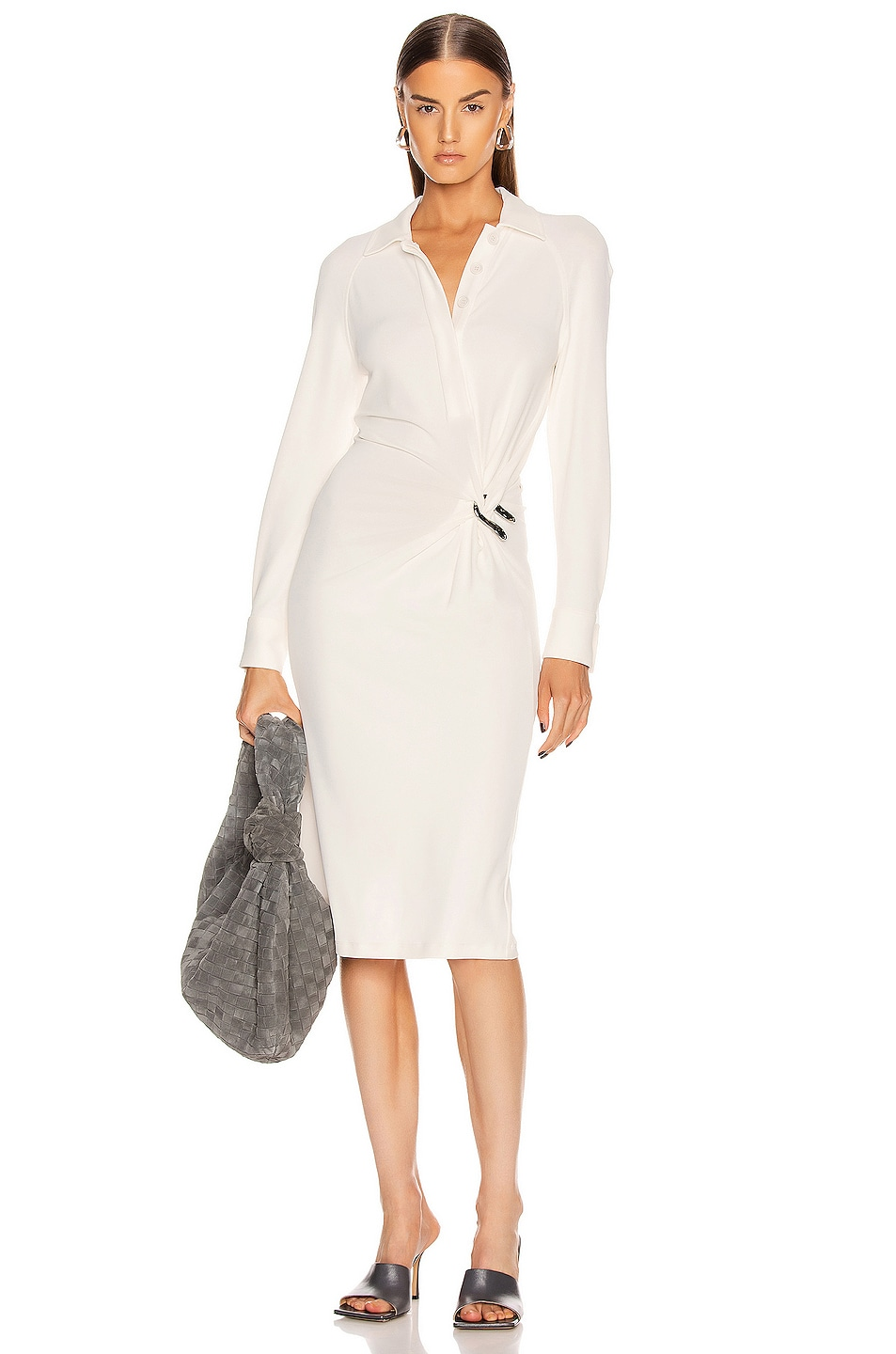 Image 1 of Bottega Veneta Long Sleeve Midi Dress in Optic White