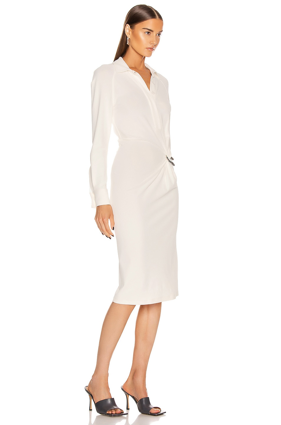 Image 2 of Bottega Veneta Long Sleeve Midi Dress in Optic White