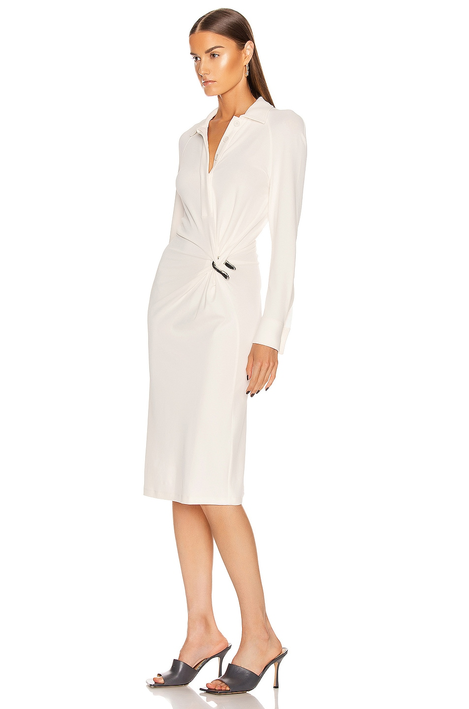 Image 3 of Bottega Veneta Long Sleeve Midi Dress in Optic White