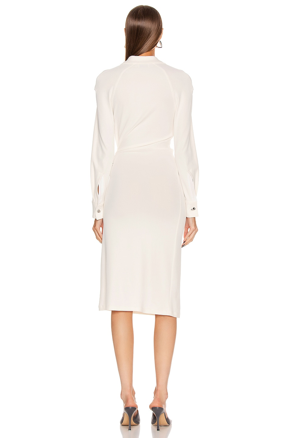 Image 4 of Bottega Veneta Long Sleeve Midi Dress in Optic White