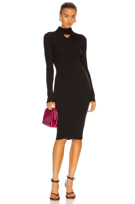 Image 1 of Bottega Veneta Wool Utility Rib Dress in Charcoal Melange