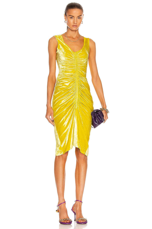 Image 1 of Bottega Veneta Velvet Stretch Dress in Kiwi
