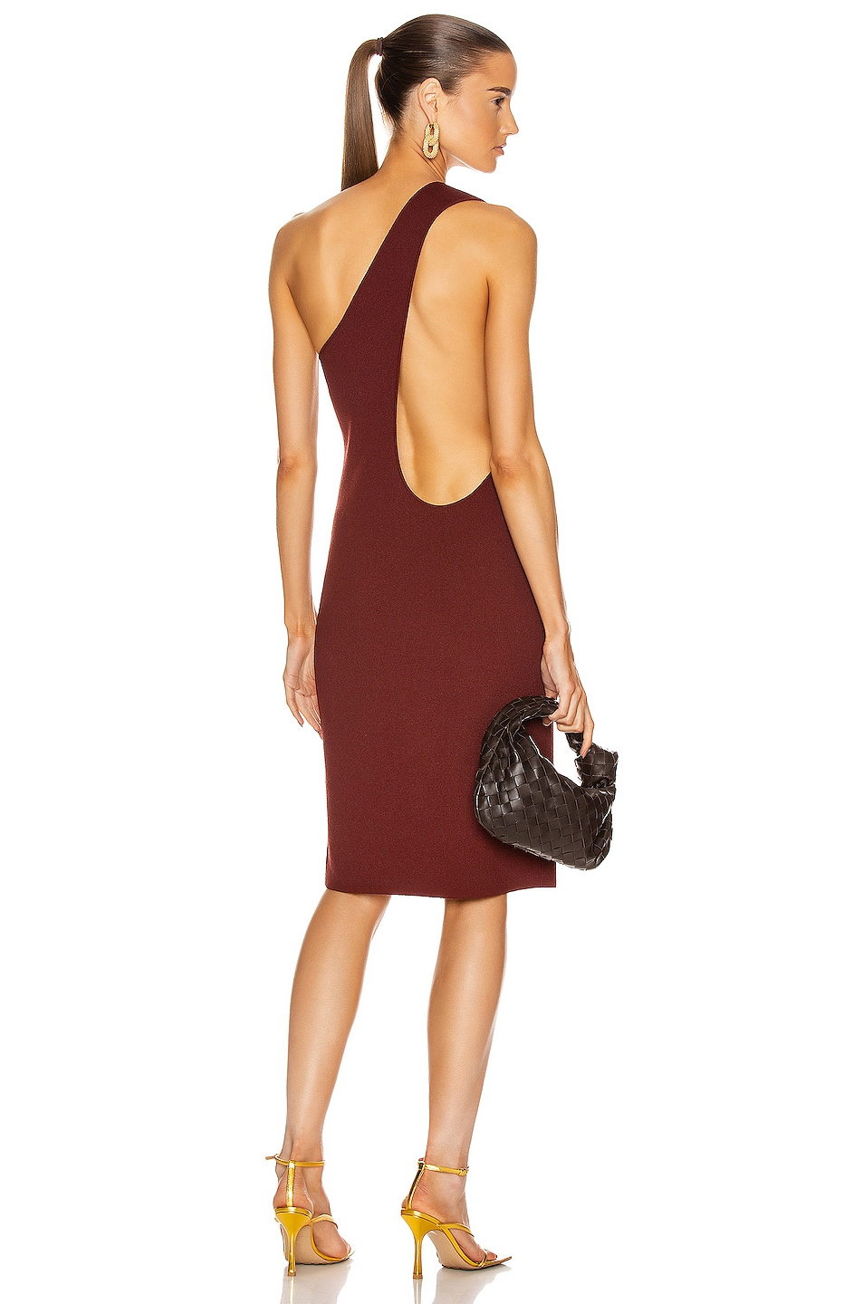 Image 1 of Bottega Veneta One Shoulder Dress in Rust