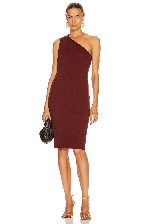 Image 2 of Bottega Veneta One Shoulder Dress in Rust