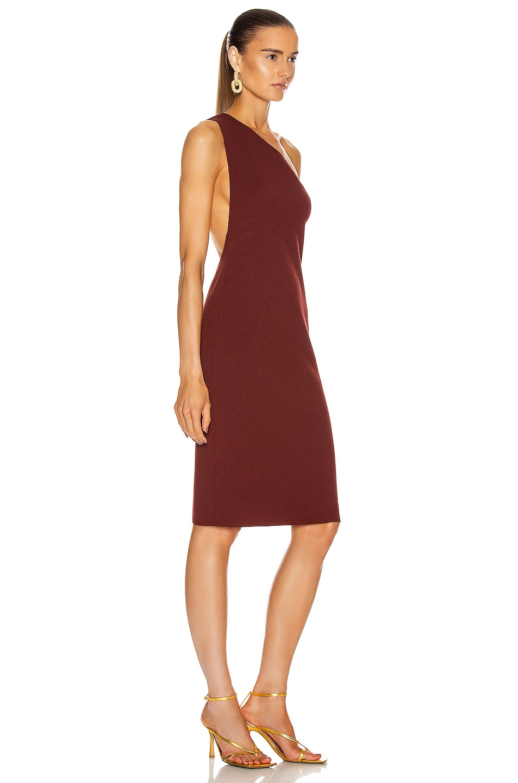Image 3 of Bottega Veneta One Shoulder Dress in Rust