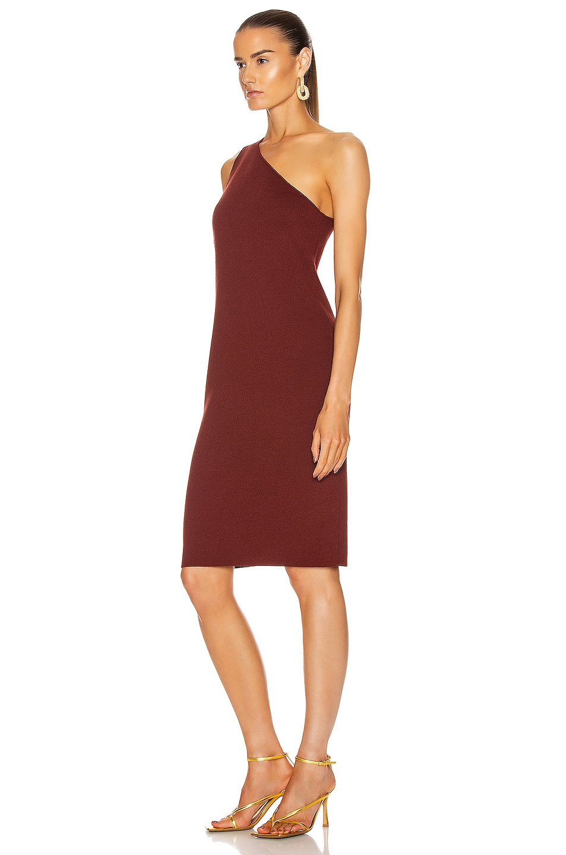 Image 4 of Bottega Veneta One Shoulder Dress in Rust