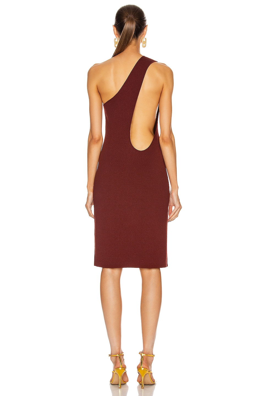 Image 5 of Bottega Veneta One Shoulder Dress in Rust