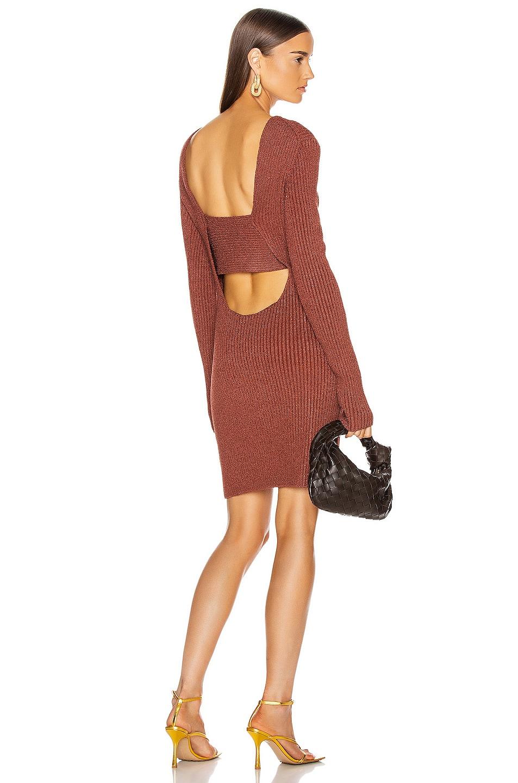 Image 1 of Bottega Veneta Rib Long Sleeve Dress in Rust