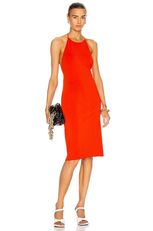 Image 1 of Bottega Veneta Jersey Open Back Dress in Orange