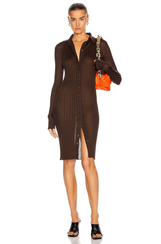 Image 1 of Bottega Veneta Long Sleeve Rib Dress in Chocolate