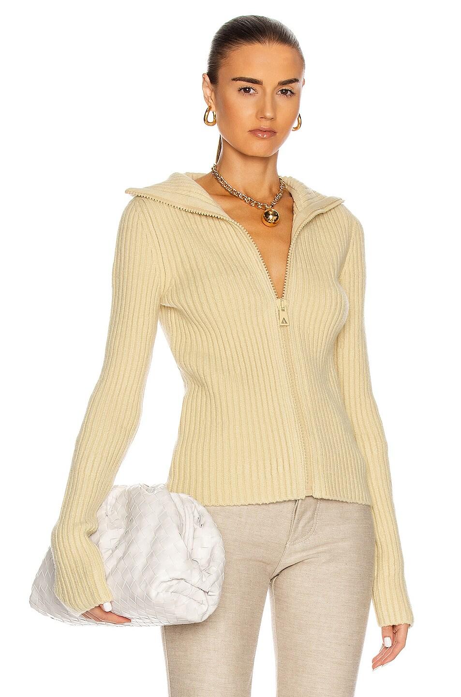 Image 1 of Bottega Veneta Ribbed Cardigan in Butter