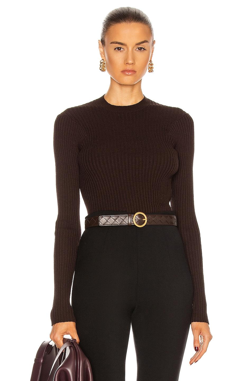 Image 1 of Bottega Veneta Light Weight Cotton Viscose Sweater in Chocolate