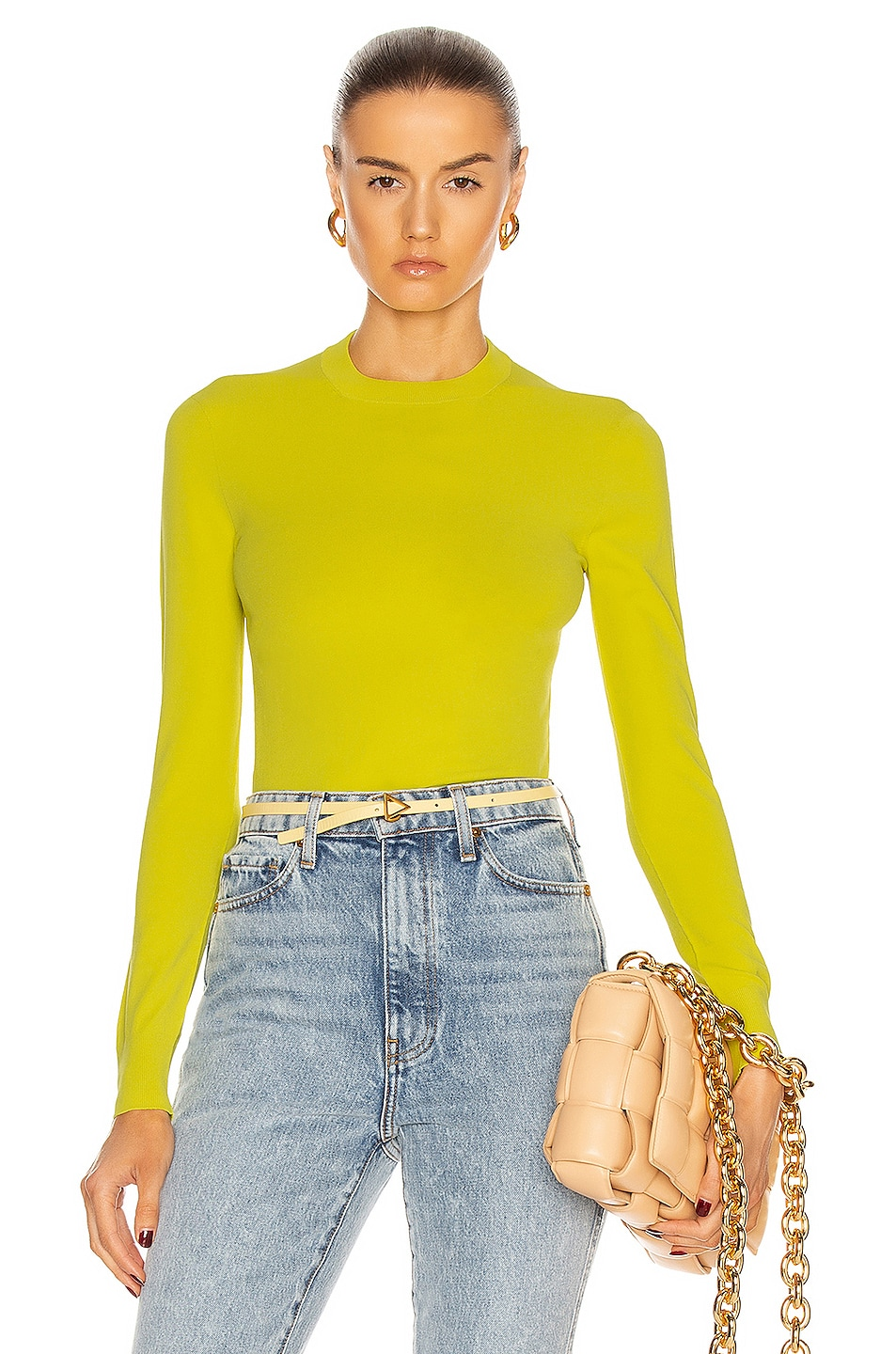 Image 1 of Bottega Veneta Techno Skin Sweater in Kiwi