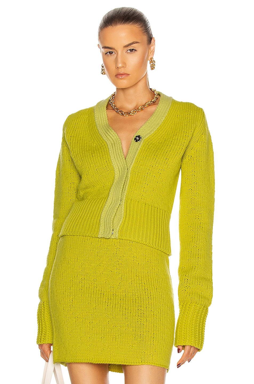 Image 1 of Bottega Veneta Imperfect Rasato Wool Cashmere Cardigan in Kiwi