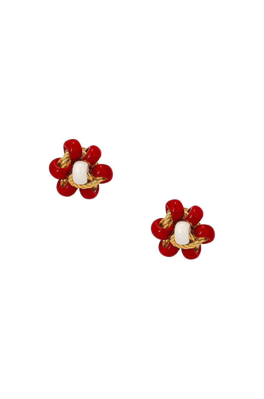 Image 1 of Bottega Veneta Flower Earrings in Chili & White