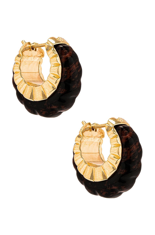 Image 1 of Bottega Veneta Two Tone Hoop Earrings in Mahogany Obsidian