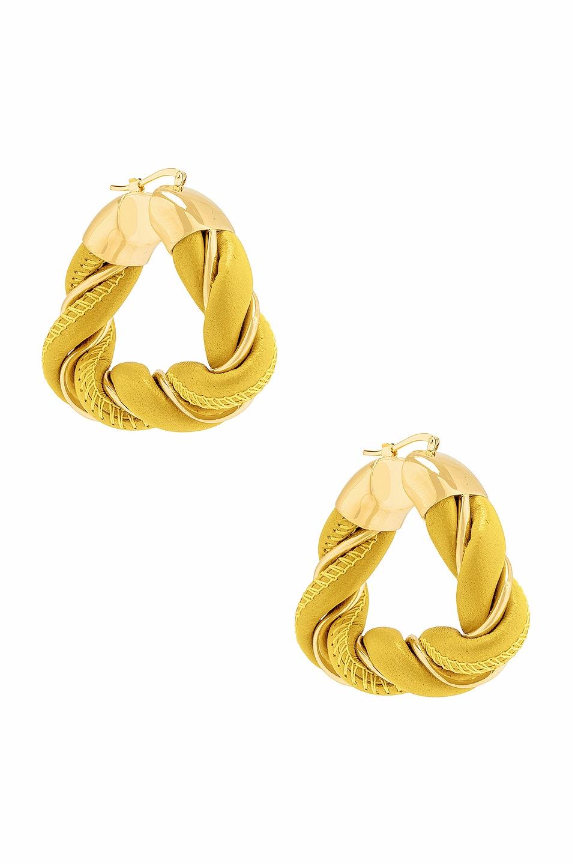 Image 1 of Bottega Veneta Triangle Earrings in Gold & Mirabelle