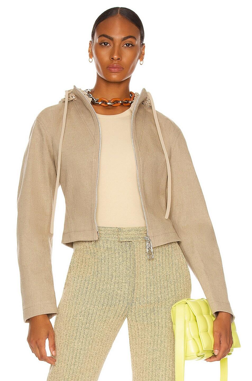 Image 1 of Bottega Veneta Stretch Linen Canvas Jacket in Natural