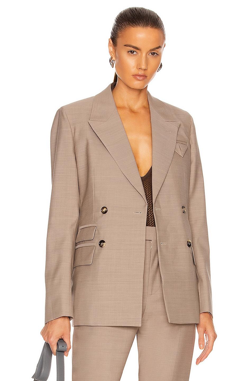 Image 1 of Bottega Veneta Double Breasted Jacket in Biscuit Melange
