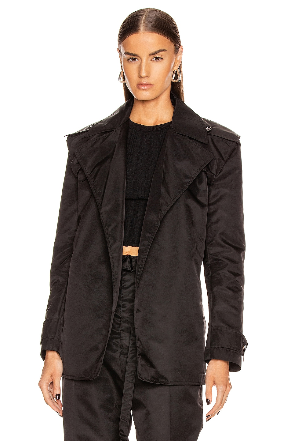 Image 2 of Bottega Veneta Belted Nylon Jacket in Black