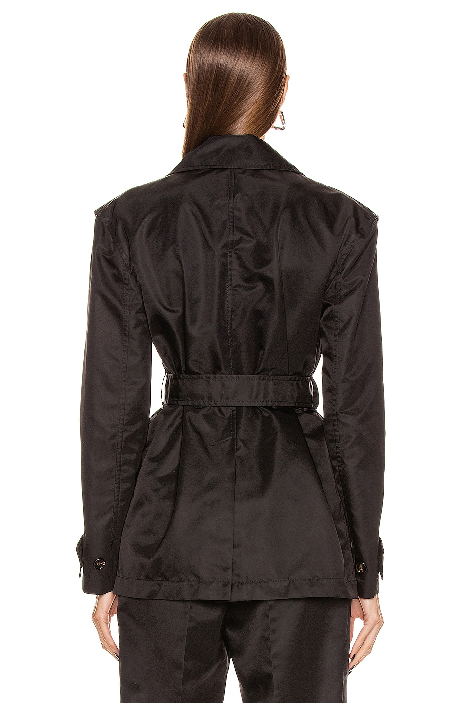 Image 4 of Bottega Veneta Belted Nylon Jacket in Black