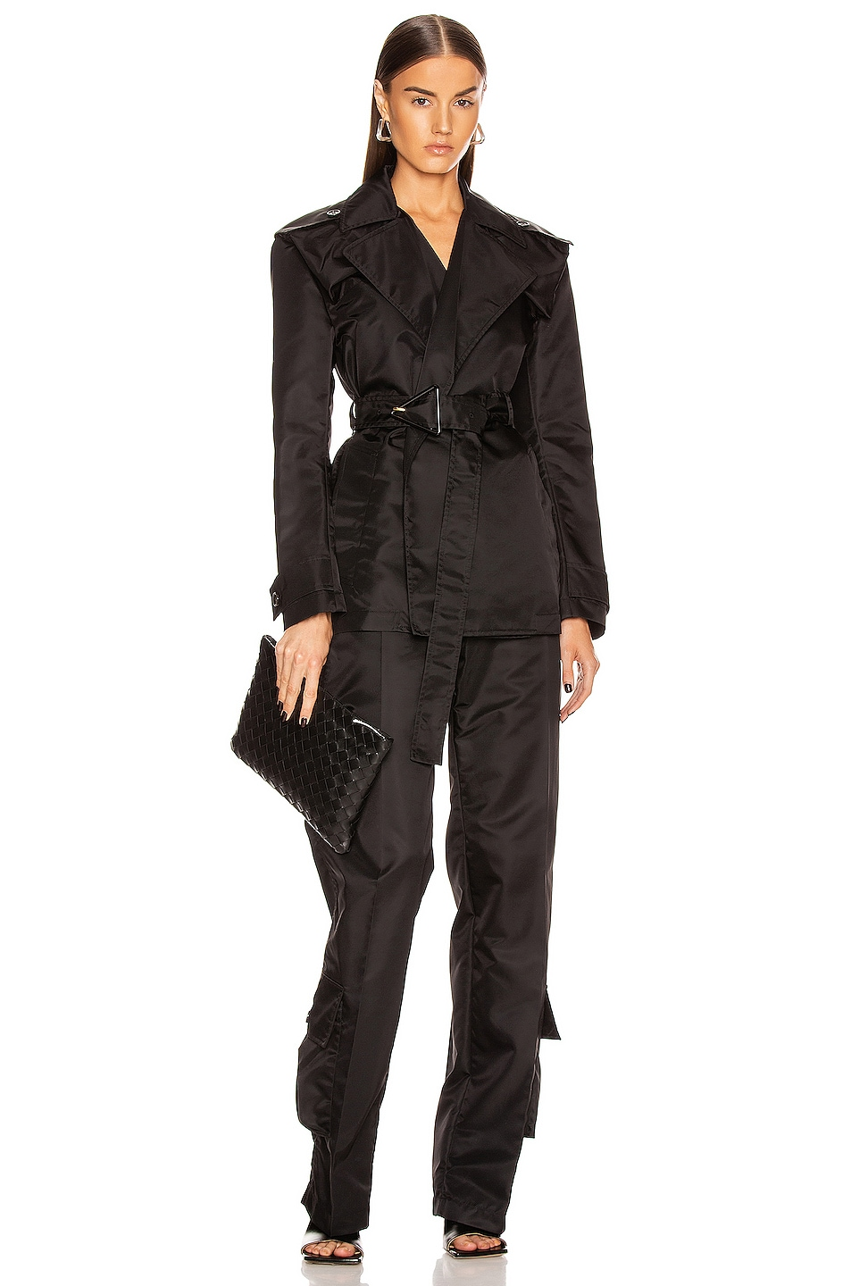 Image 5 of Bottega Veneta Belted Nylon Jacket in Black