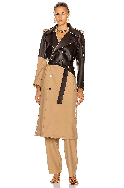 Image 2 of Bottega Veneta Colorblock Belted Trench Coat in Camel