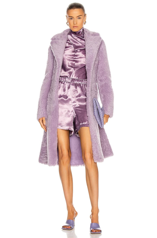 Image 1 of Bottega Veneta Teddy Shearling Coat in Lavender