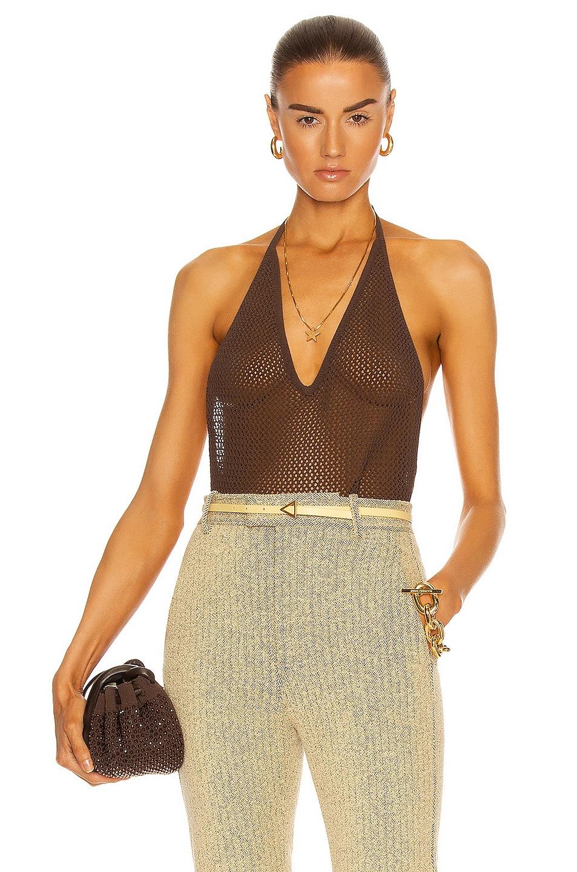 Image 1 of Bottega Veneta Fishnet Bodysuit in Ebony