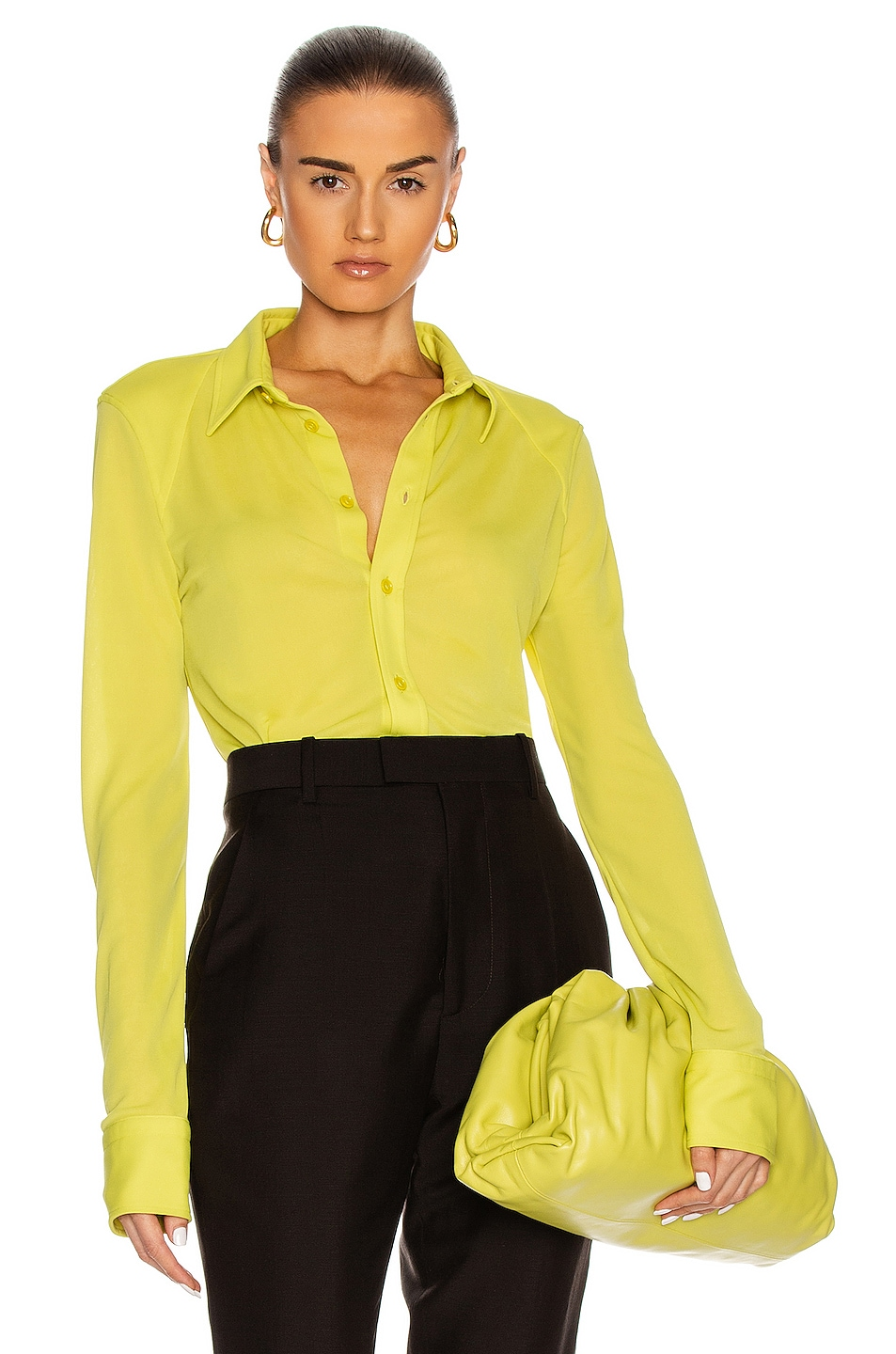 Image 1 of Bottega Veneta Button Down Top in Kiwi