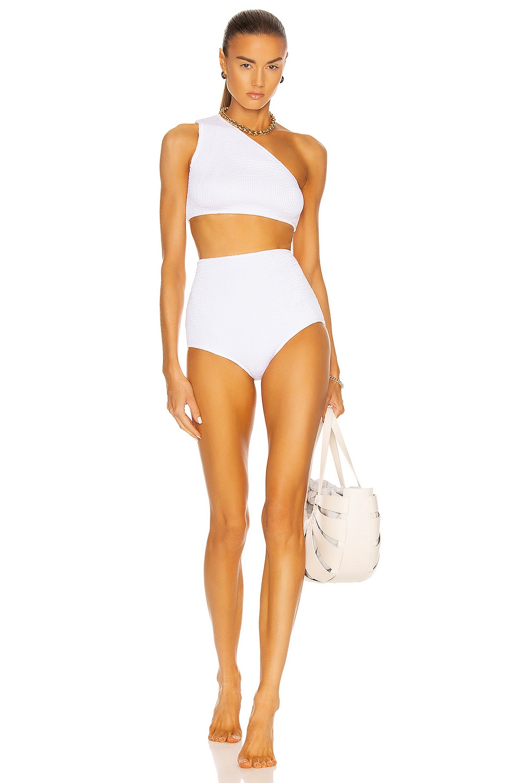 Image 1 of Bottega Veneta Crinkle One Shoulder Bikini Set in White