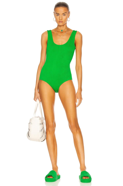 Image 1 of Bottega Veneta Crinkle One Piece Swimsuit in Parakeet